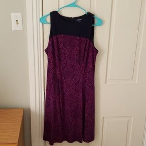 Purple and navy dress with faux pockets